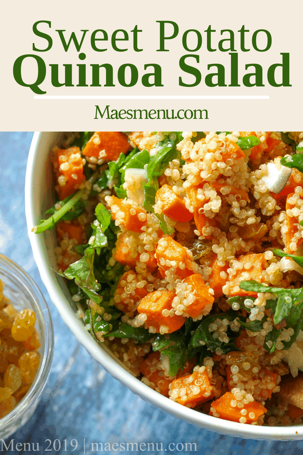 A pinterest pin for sweet potato Quinoa Salad with an up-close picture of the salad.
