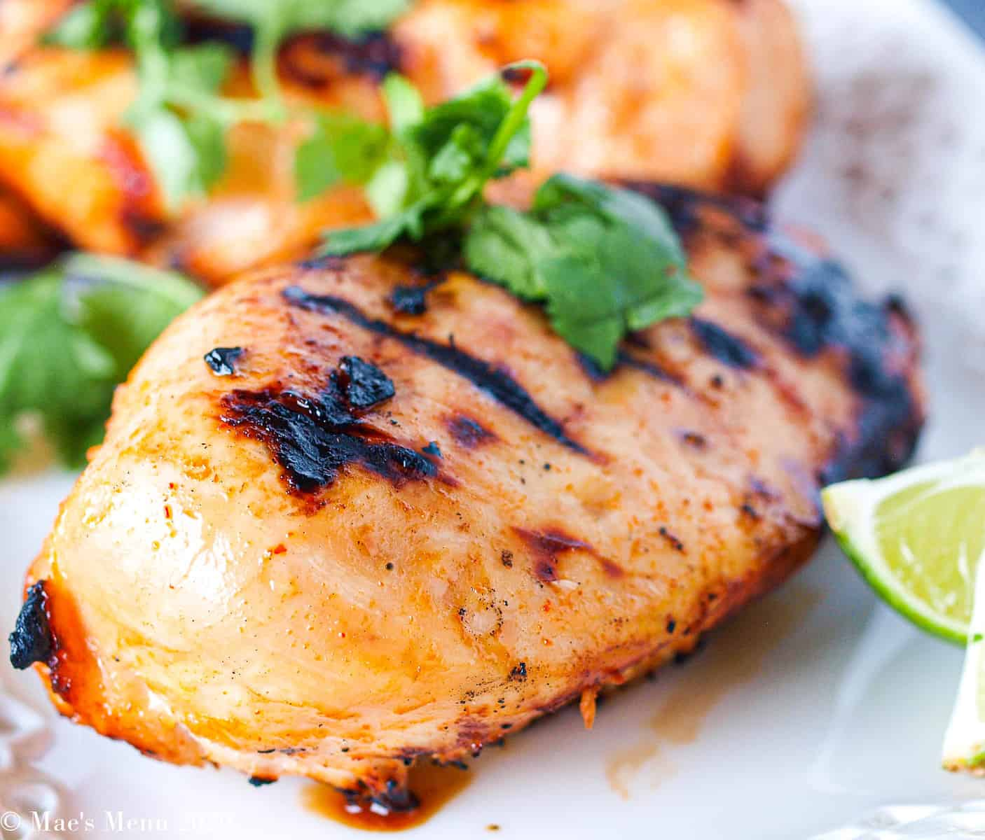 An up close shot of honey spicy grilled chicken without the sauce on it.