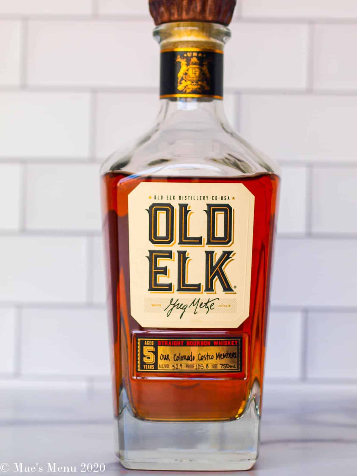 a bottle of old elk on the counter