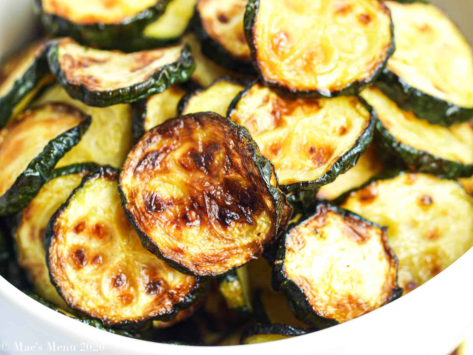 Up-close shot of a bowl of air fryer zucchini
