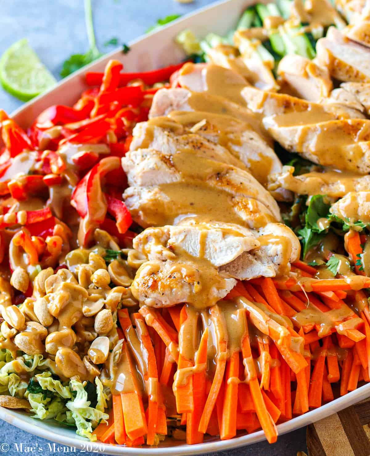 A side angle shot of a large platter of Thai Chicken salad with peanut dressing. The salad is dressed with the peanut sauce but isn't dressed yet.