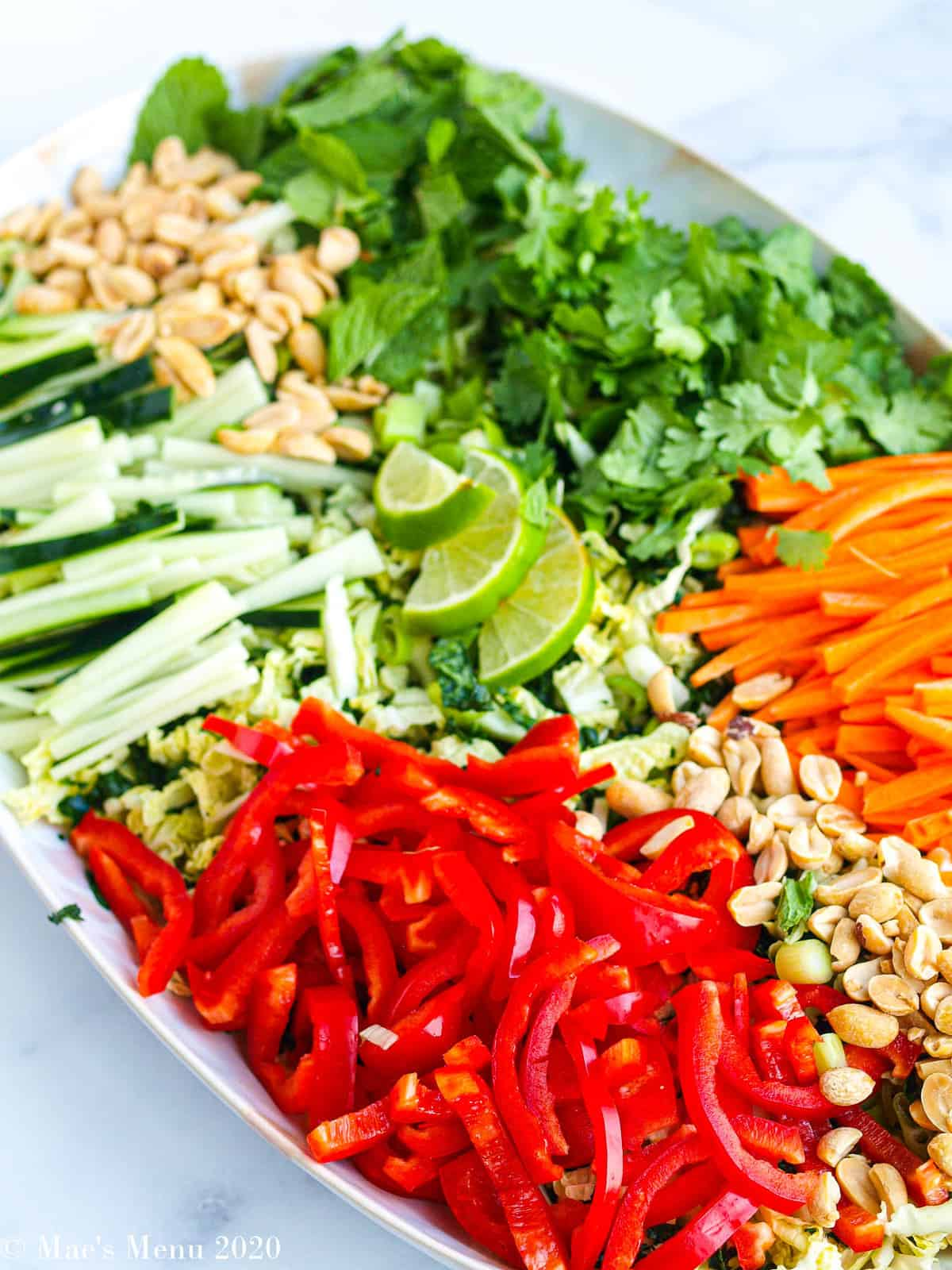 An overhead shot of a platter of the vegetables for thai chicken salad.