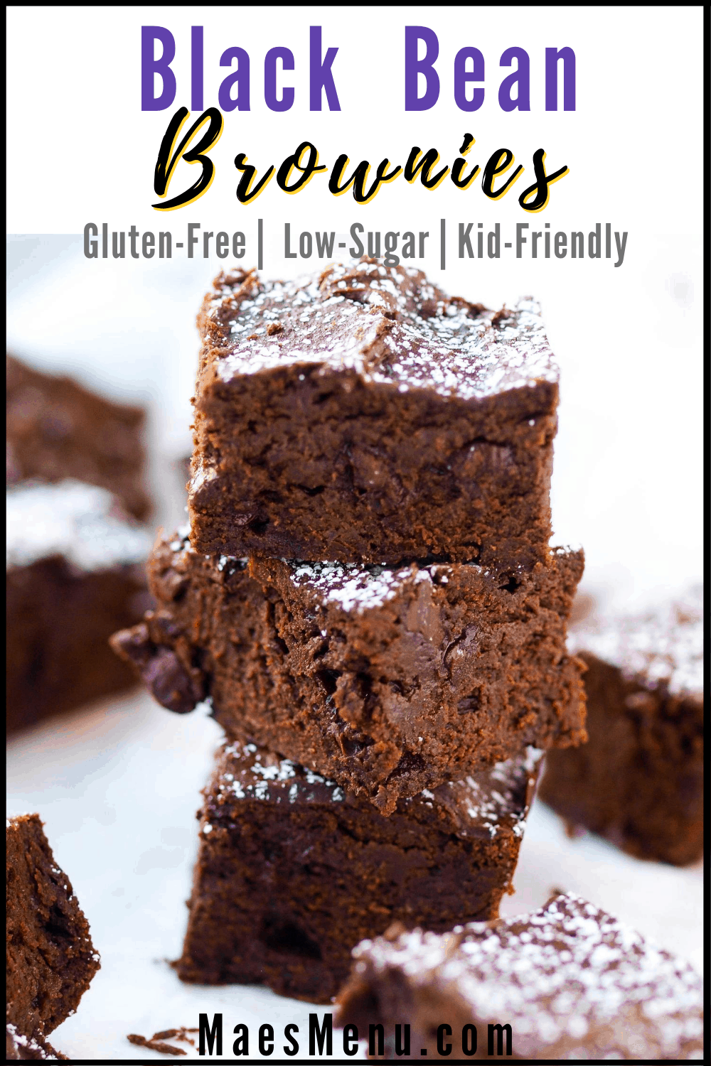 Pinterest pin for black bean brownies. On the picture is a stack of black bean brownies