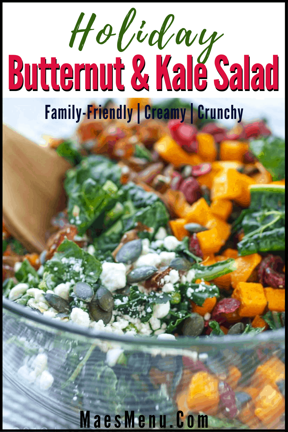 A pinterest pin for holiday kale salad with an up-close picture of a holiday kale salad before being tossed