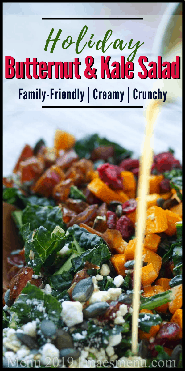 A pinterest pin for holiday butternut and kale salad with a picture of a salad with dressing pouring on top