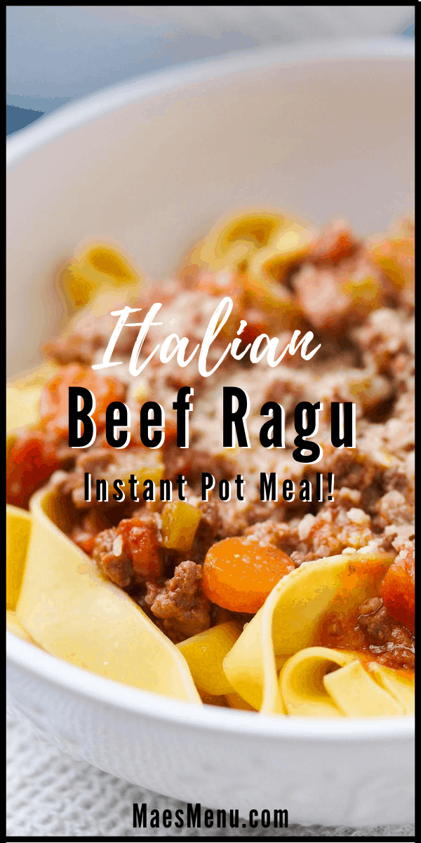 A pinterest pin for Italian beef ragu. the picture is an upclose shot of the ragu on pasta