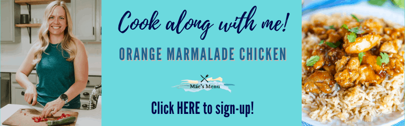 Cook along with me! Orange Marmalade chicken -- click here to sign up! With a photo of chelsea cooking and a shot of the orange marmalade chicken