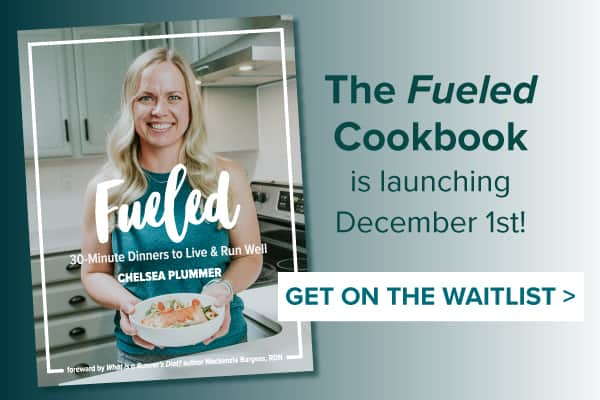 The fueled cookbook is alunching december 1st! Get on the waitlist. With a picture of Chelsea Plummer from Mae's Menu holding a plate of pesto pasta with salmon