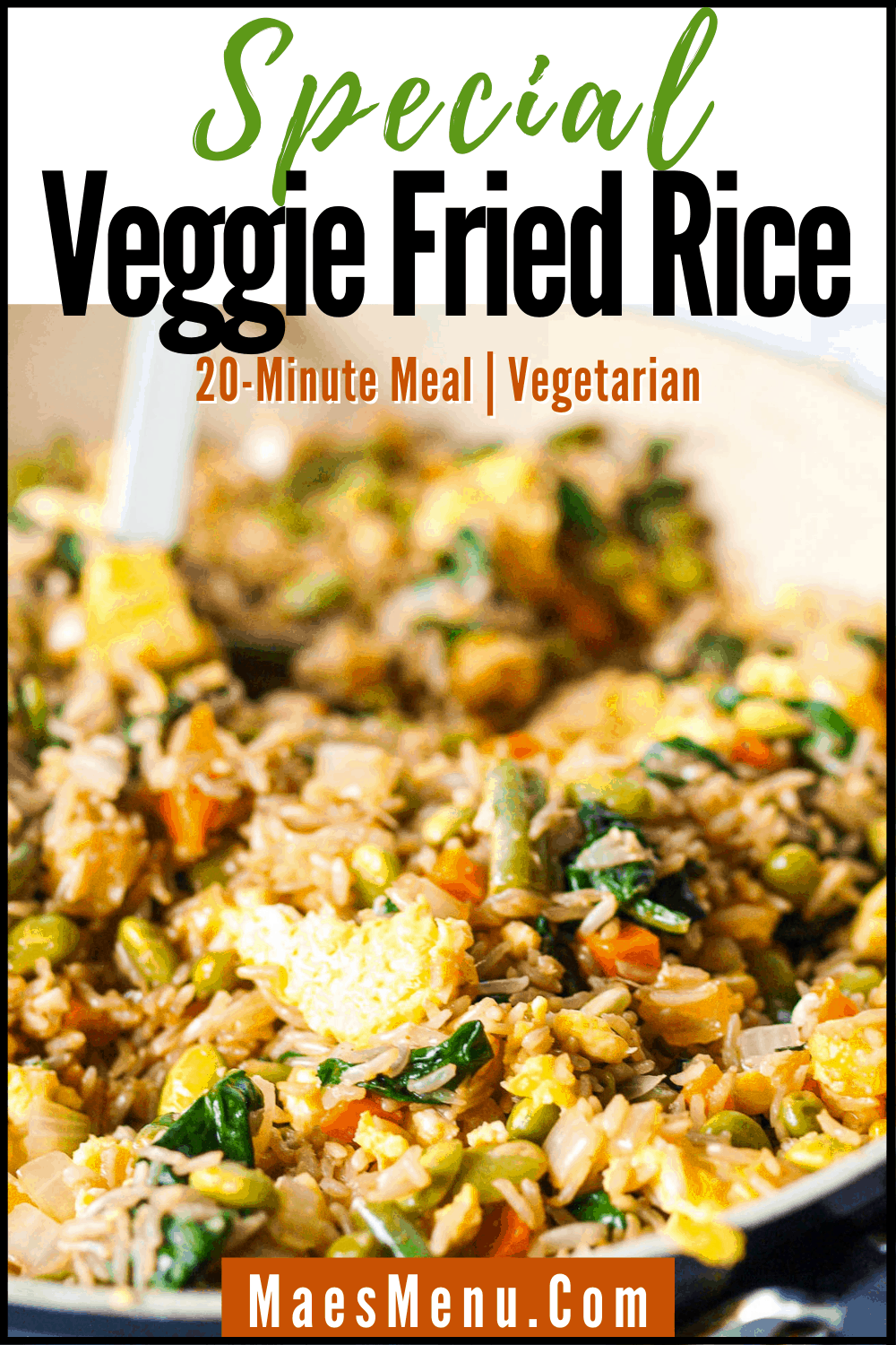 A pinterest pin for Special veggie fried rice. On the image is an up-close of the fried rice in a saute pan