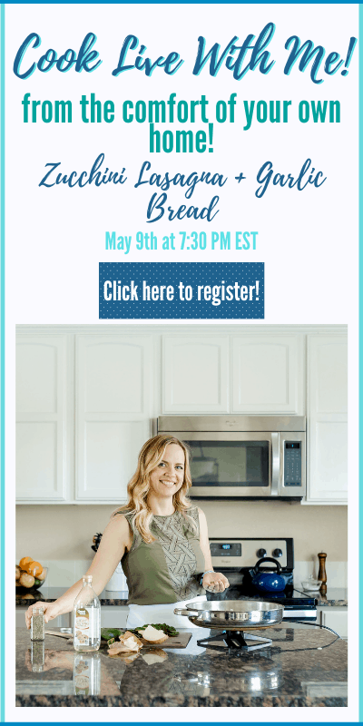 "Chelsea Plummer of Mae's Menu cooking. Text says: ""Cook live with me! from the comfort of your own home! Zucchini lasagna + garlic bread. May 9 at 7:30 AM EST. Click here to register"""
