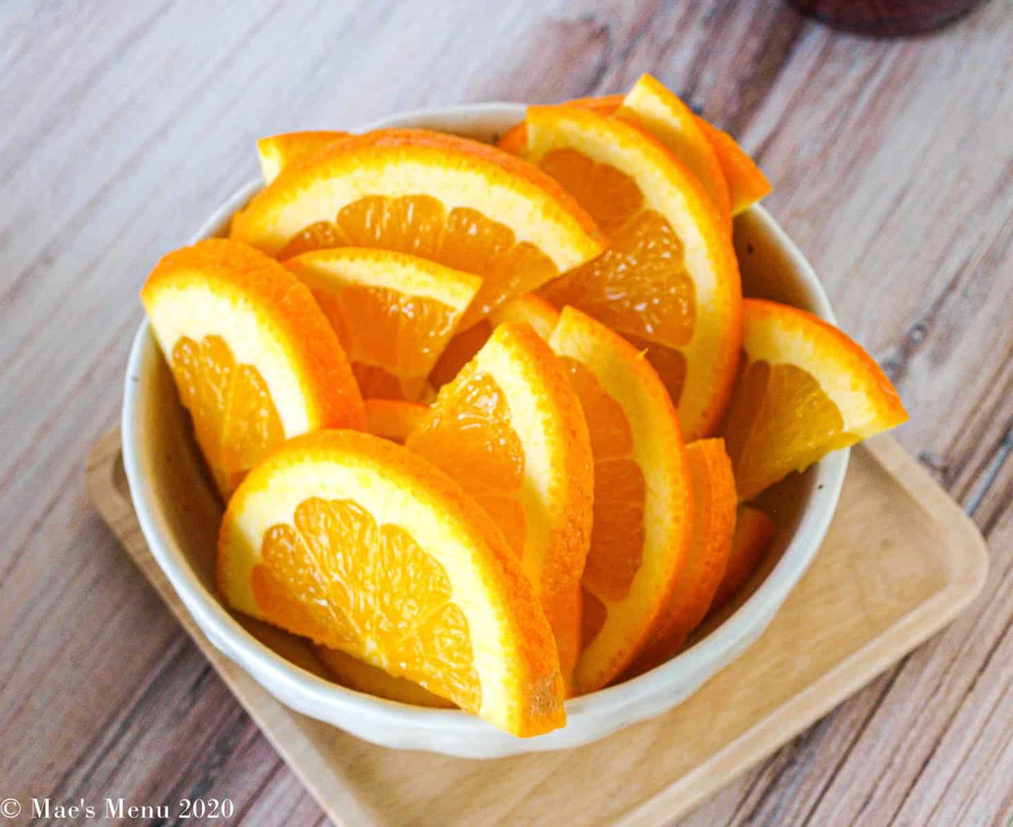A small dish of orange slices