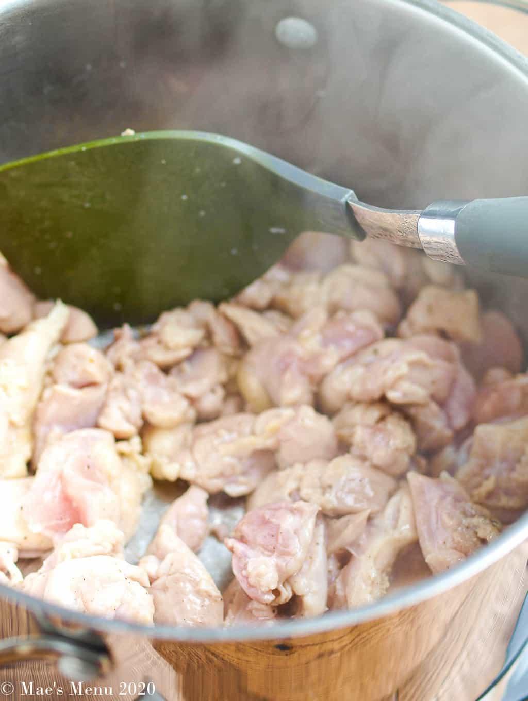 Saute the chicken in oil