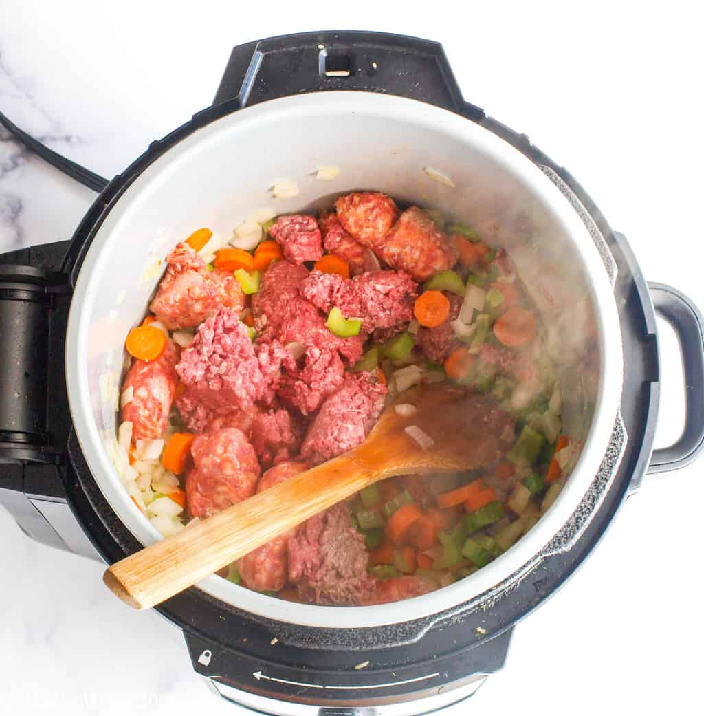 Ground meat and veggies in a pressure cooker