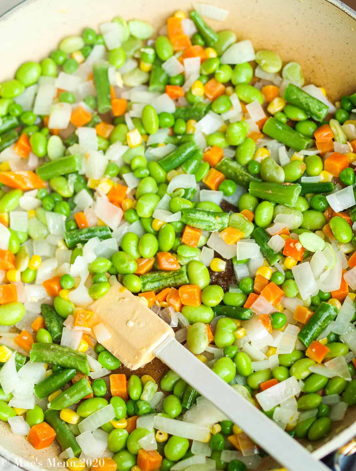 Veggies stir fried in a non-stick pan