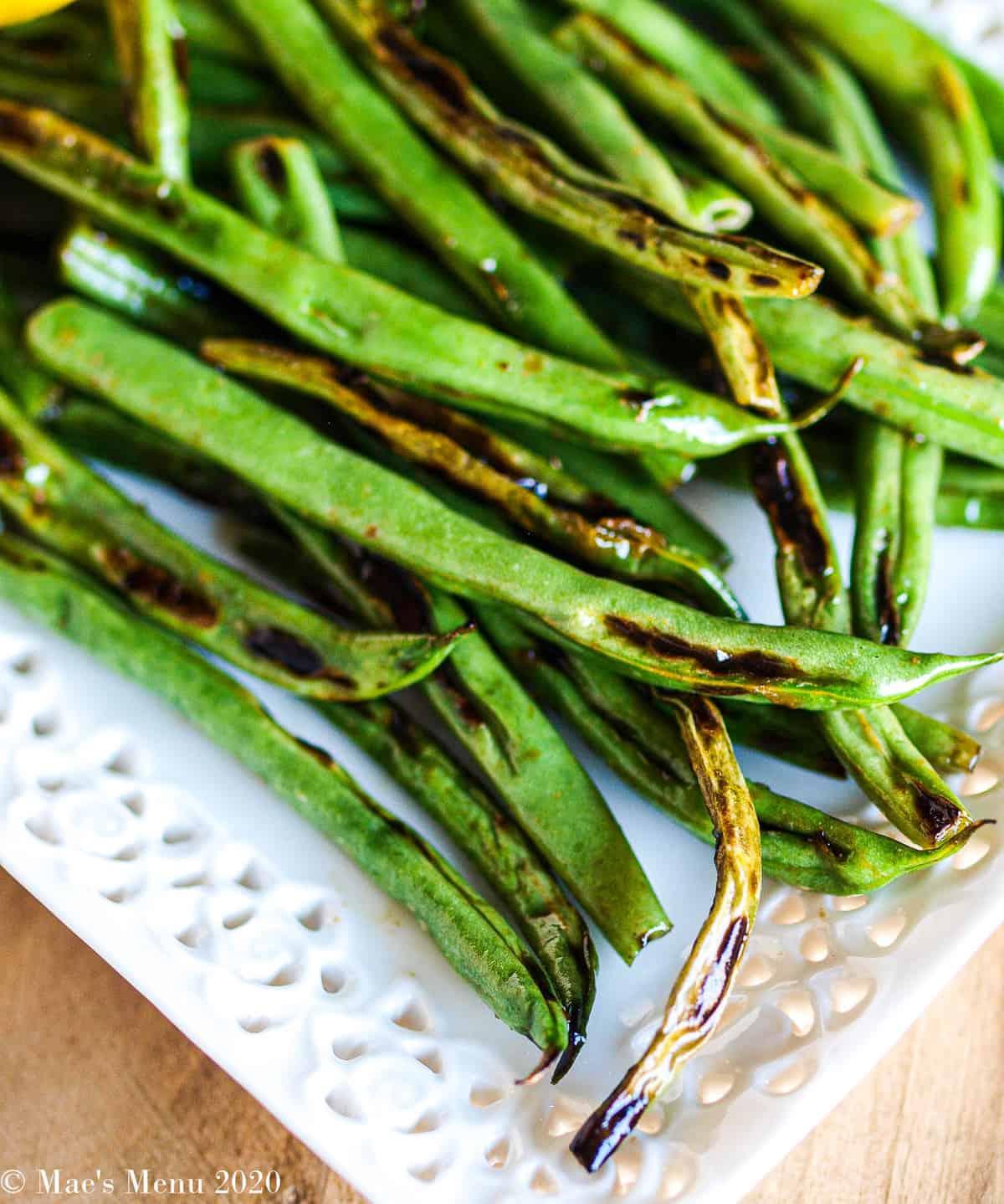 An up-close shot of blistered green beans
