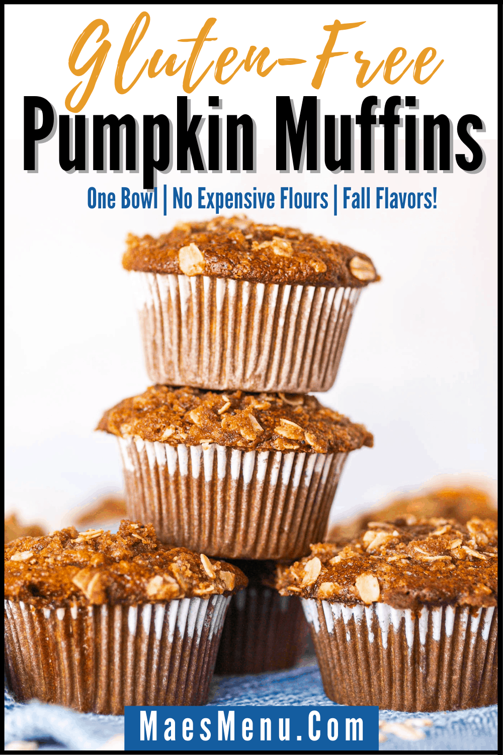 A pinterest pin for gluten-free pumpkin muffins with a picture of a stack of the muffins