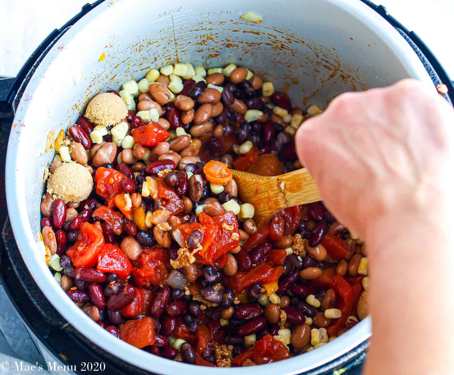 Stirring all of the chili ingredients until combined