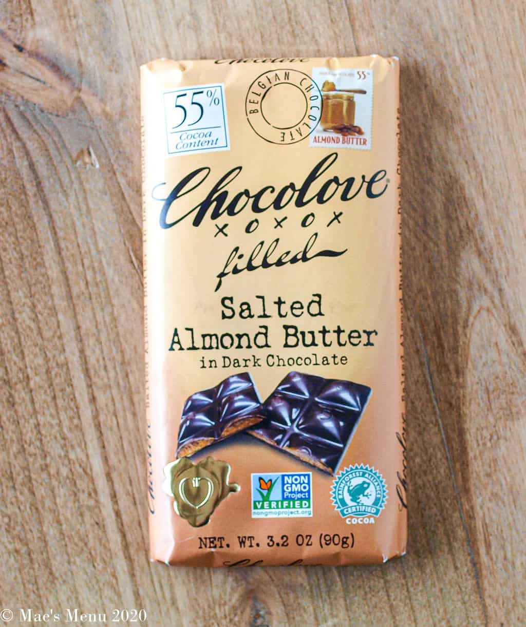 A ar of Chocolove xoxo filled salted almond butter in dark chocolate