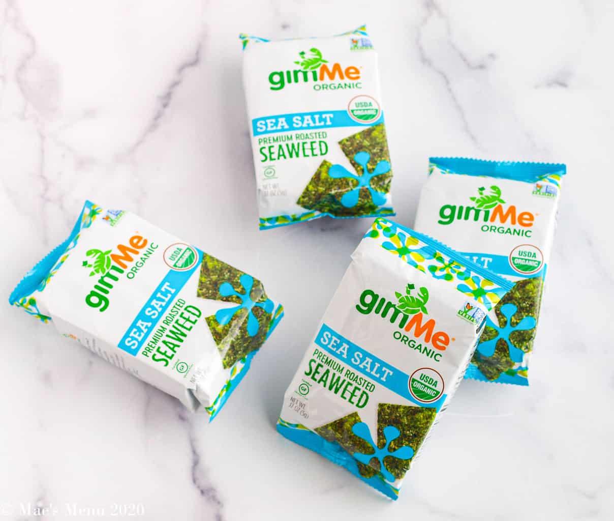 4 small packs of gimMe organic seaweed snacks