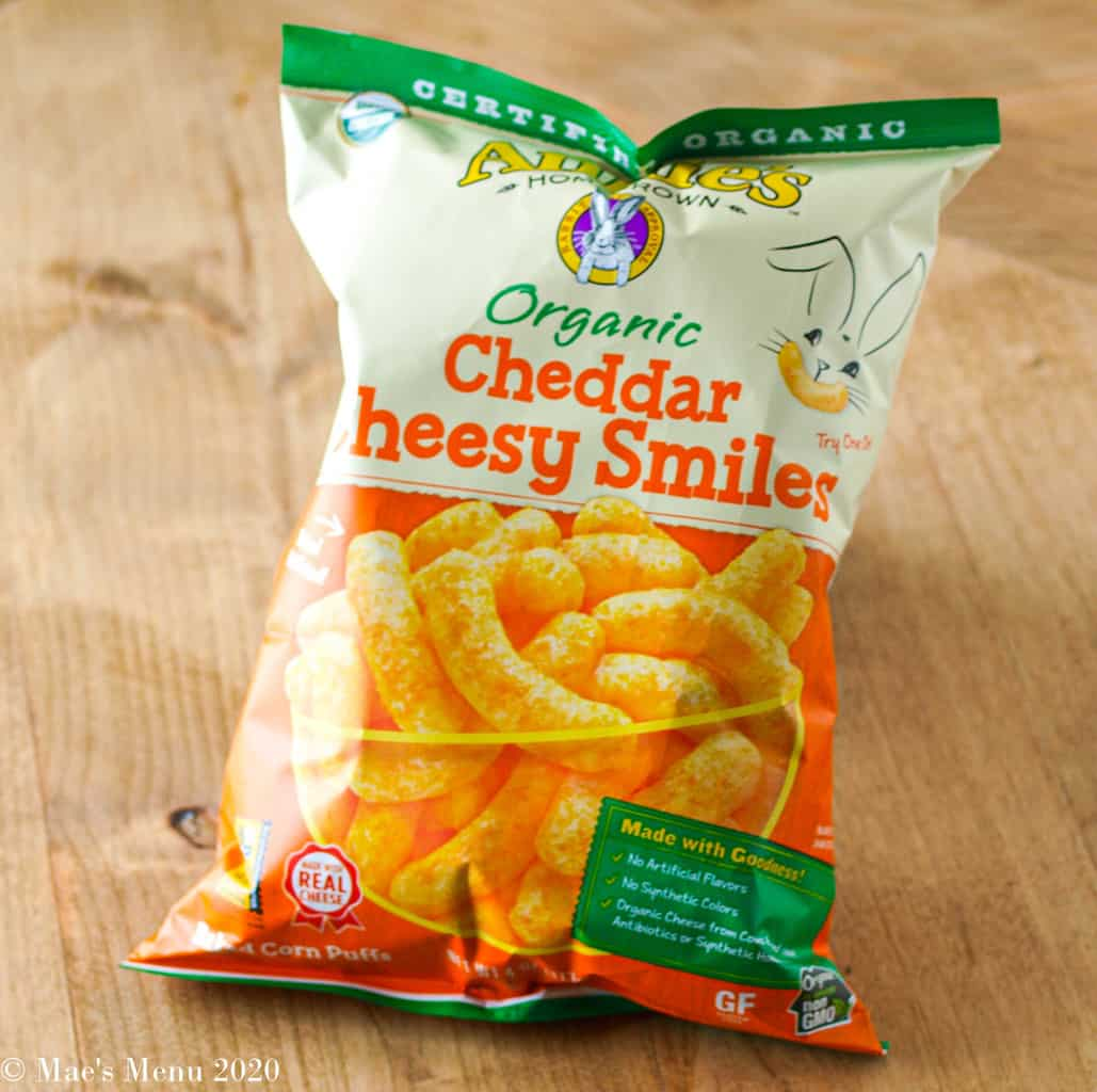 A bag of Annie's Cheddar Cheesy Smiles