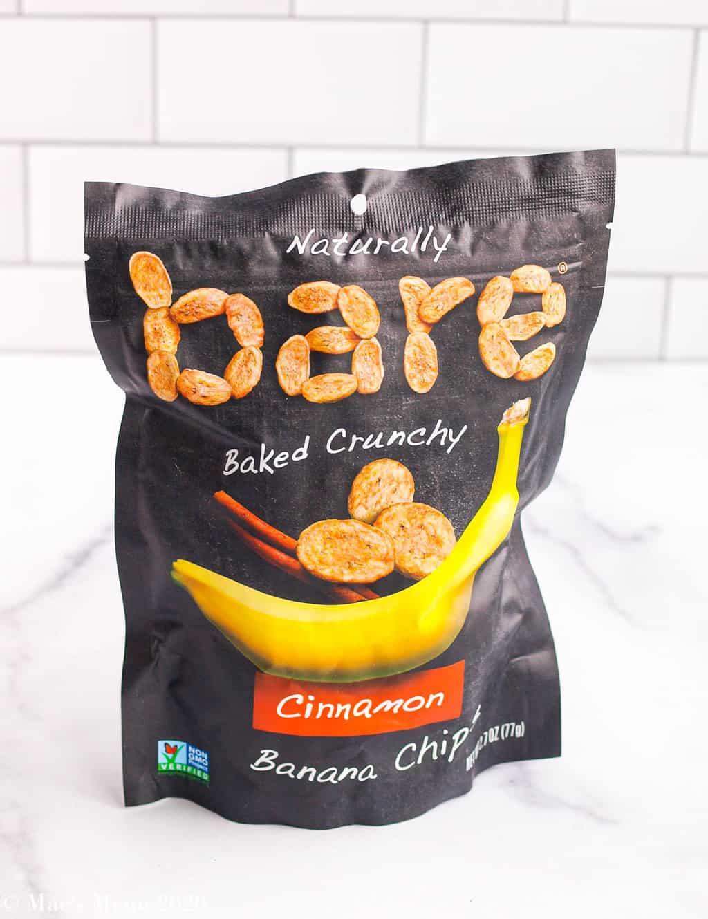 a bag of naturally bare cinnamon banana chips on the counter