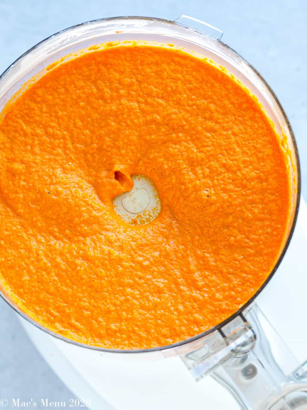 The carrot souffle blended up in the food processor