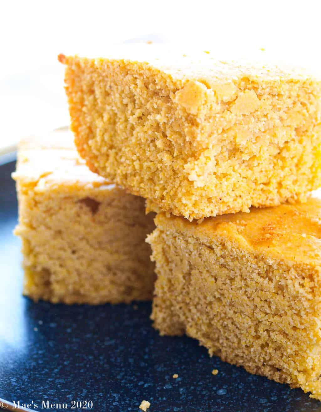 An up-close of 3 pieces of gluten-free cornbread