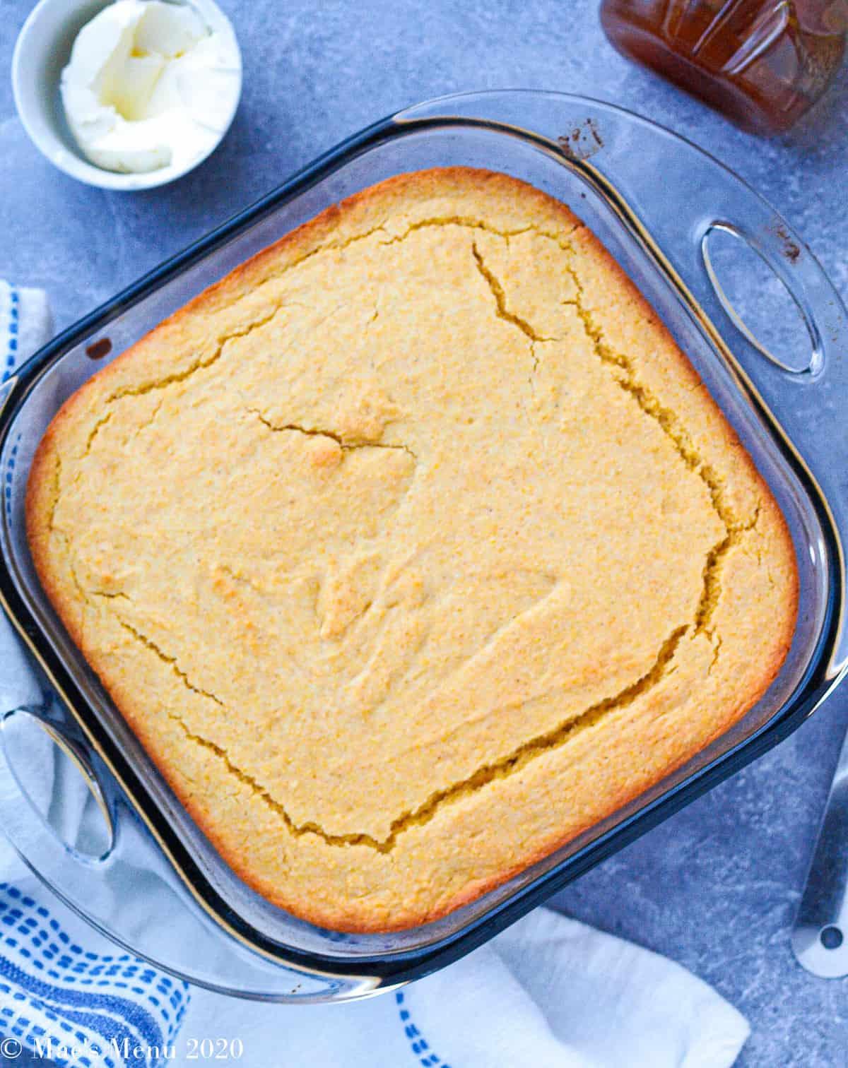An overhead of a pan of gluten-free cornbread