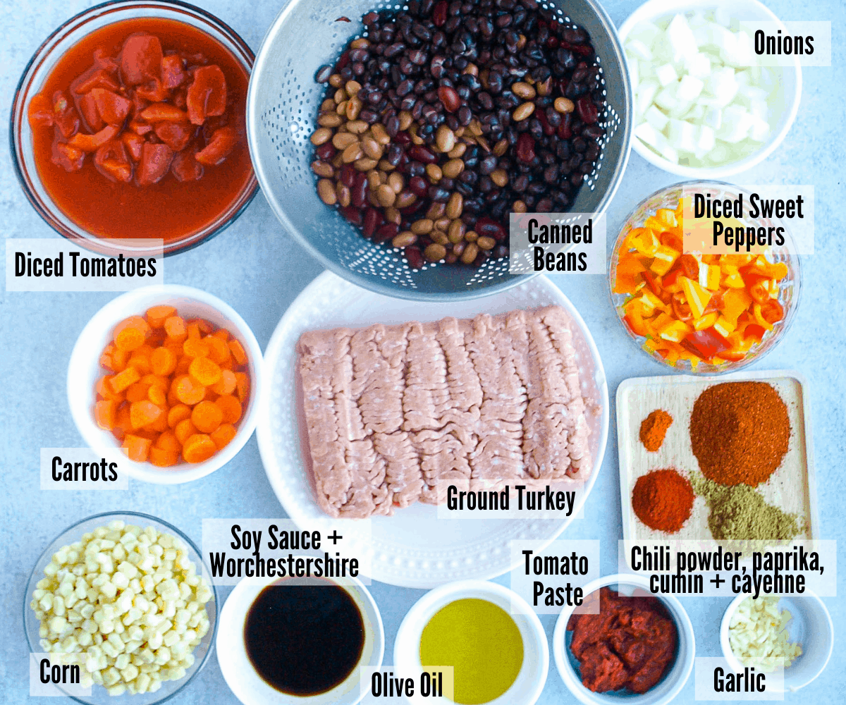 All the ingredients for instant pot turkey chili: diced tomatoes, canned beans, onions, sweet peppers, chili powder, paprika, cumin and cayenne, ground turkey, soy sauce & worchestershire sauce, carrots, corn, olive oil, tomato paste, and garlic.