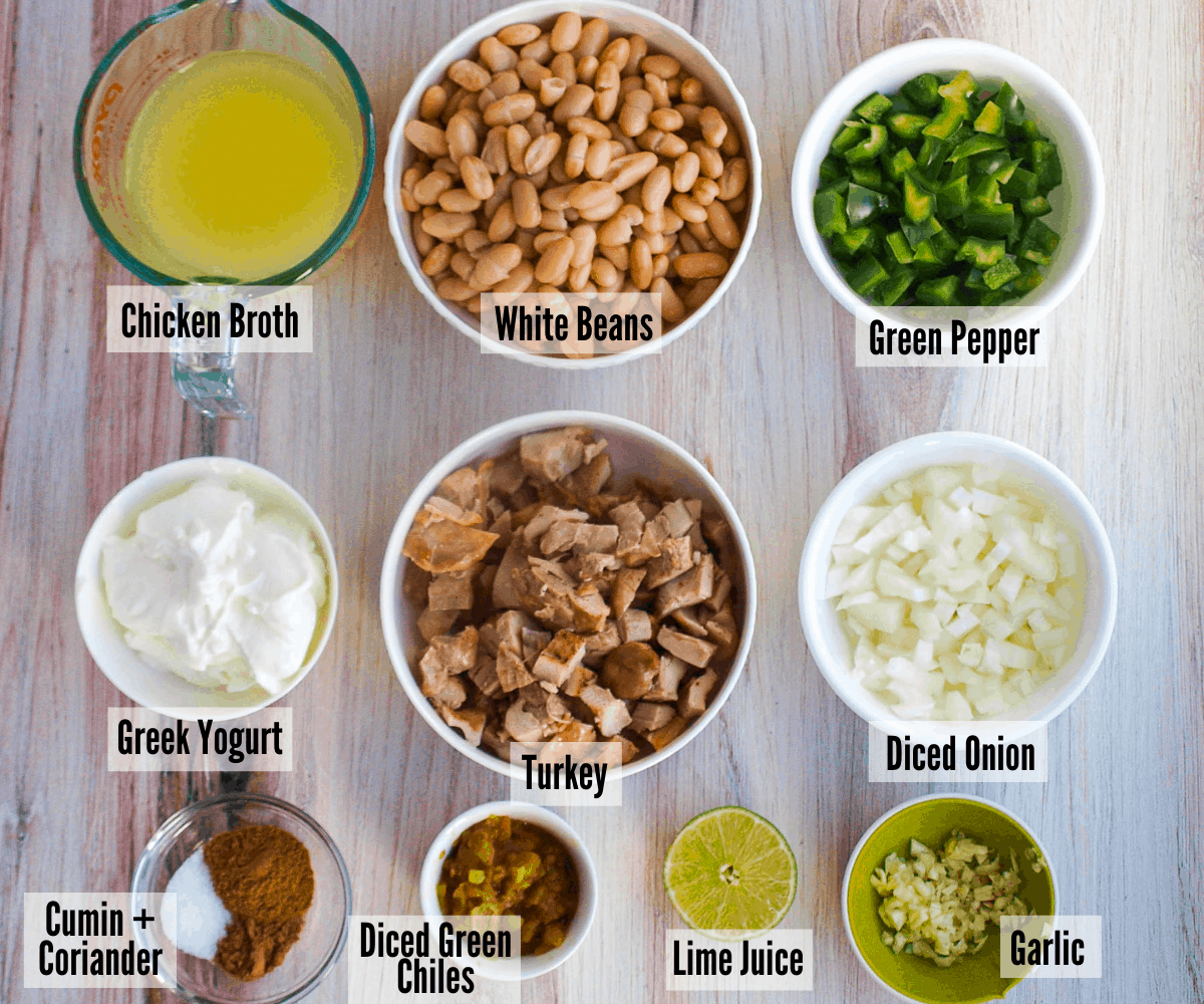 All the ingredients for leftover white bean chicken chili in small ingredient dishes