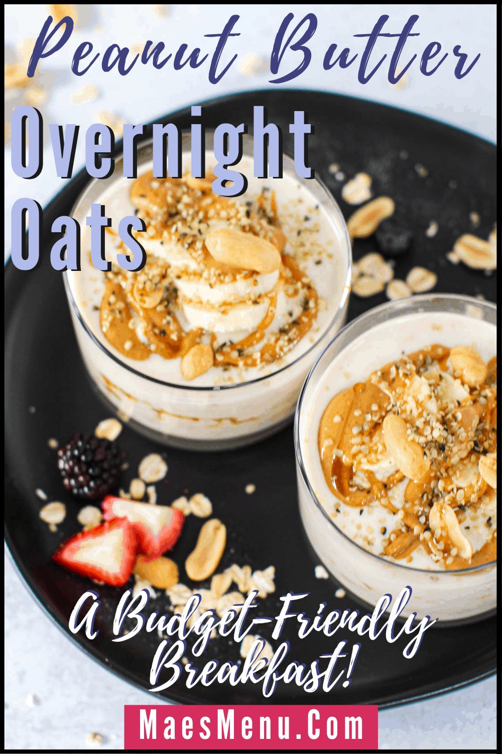 A pinterest pin for peanut butter overnight oats. On the image is an angled overhead shot of the oats. On the image reads