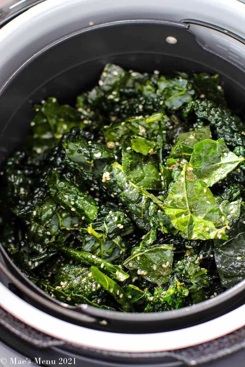 Kale chips in an air fryer