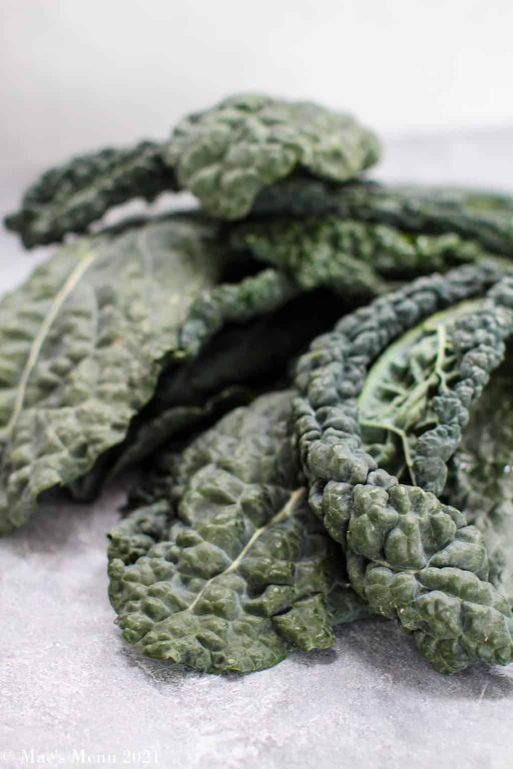 The top shot of dinaosuar kale on a countertop