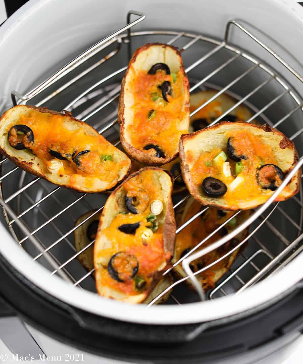 Fried air fryer potato skins in an air fryer