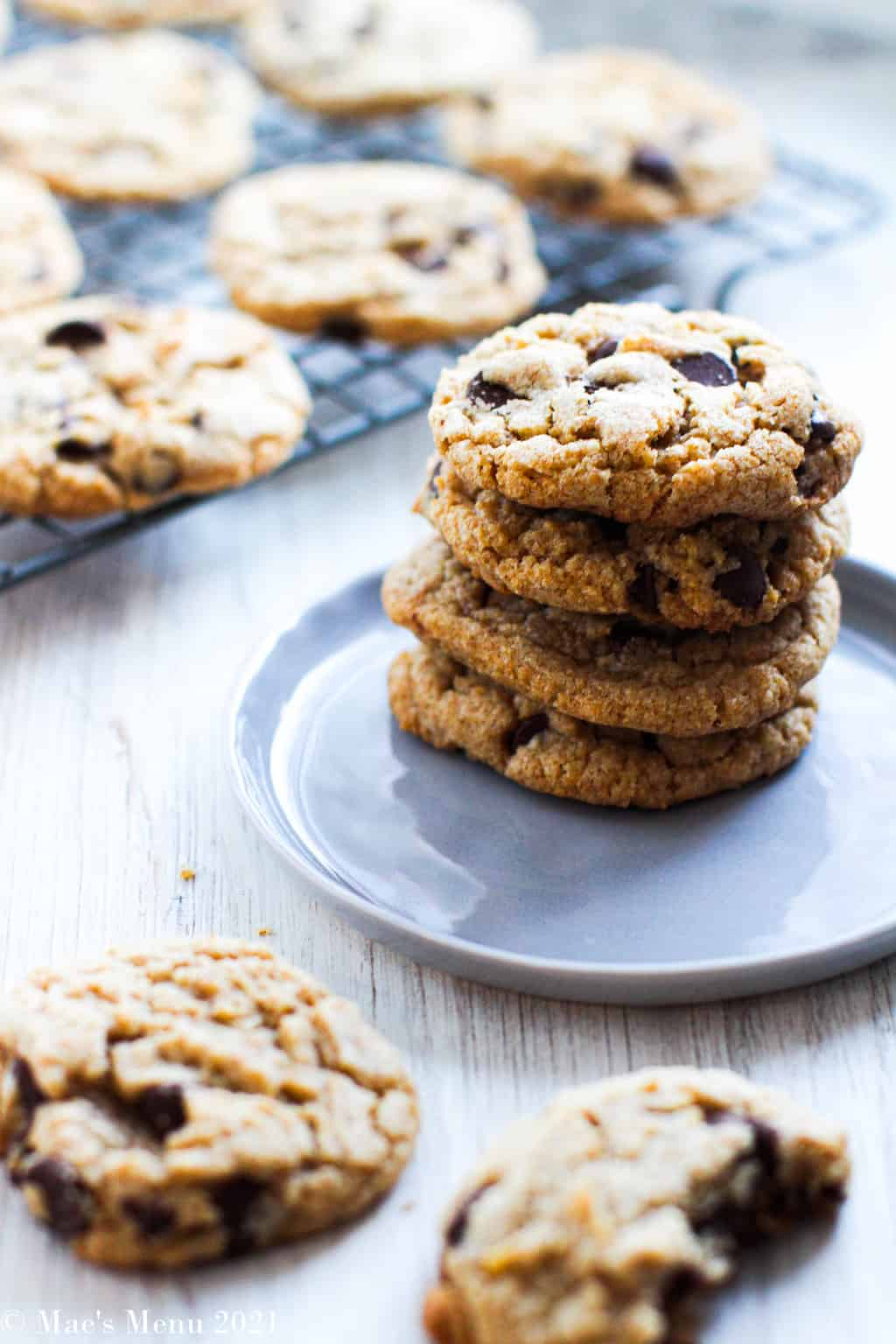 A stack of whole wheat chocolate chip cookies on a navy blue plate in front of a cooling rack full of cookies