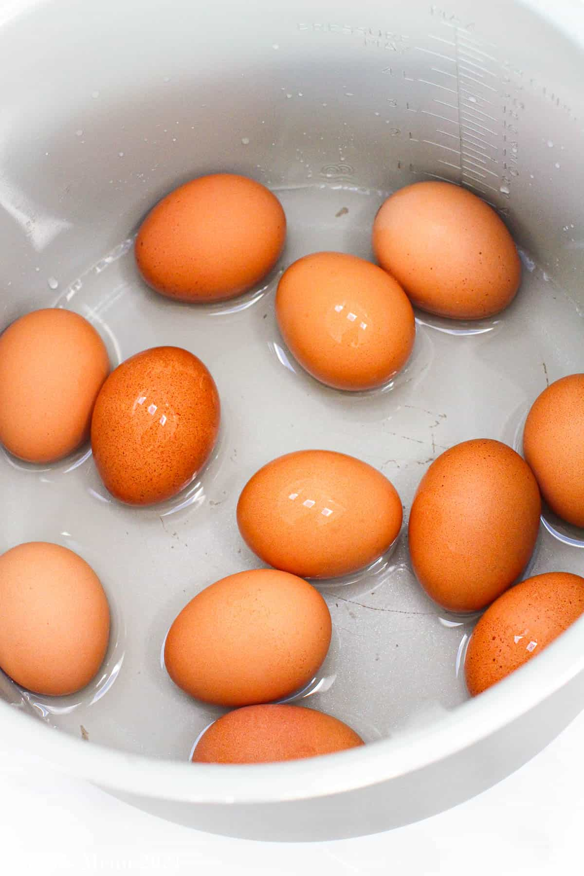 An overhead of eggs in an instant pot