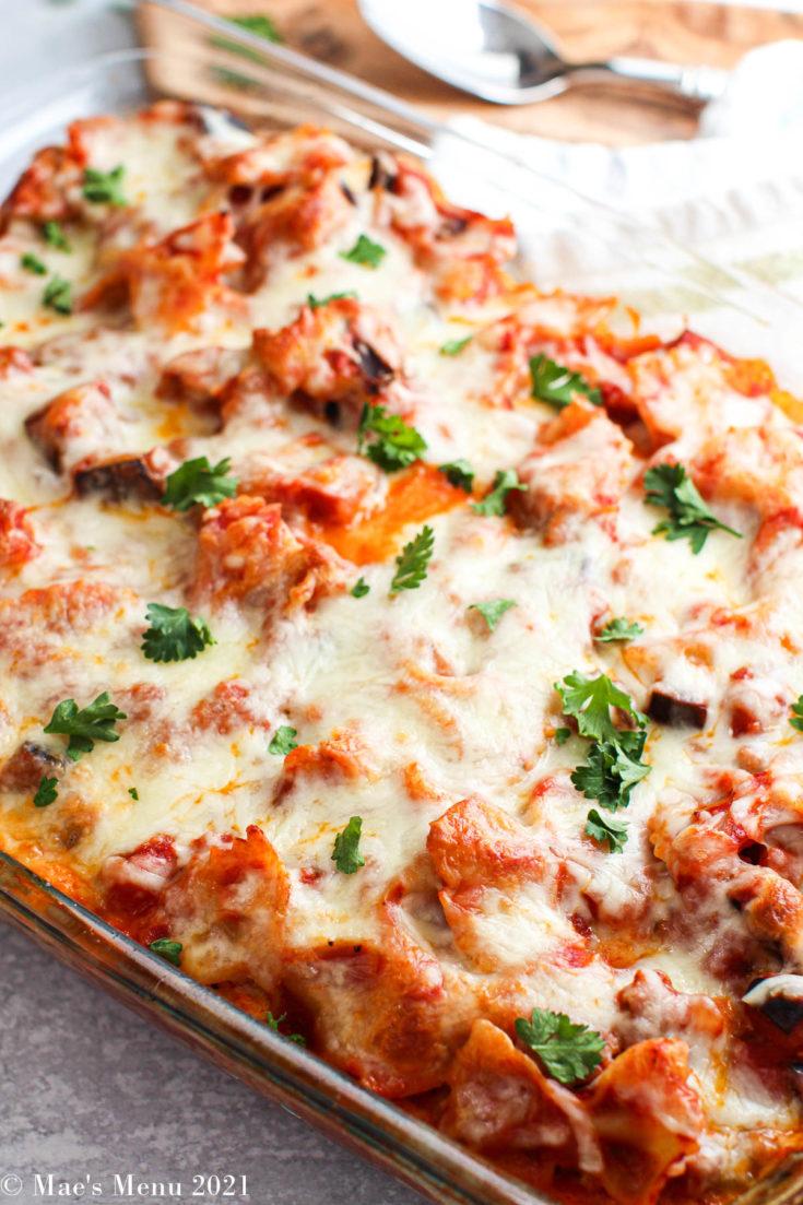An overhead shot of a pan of italian sausage casserole