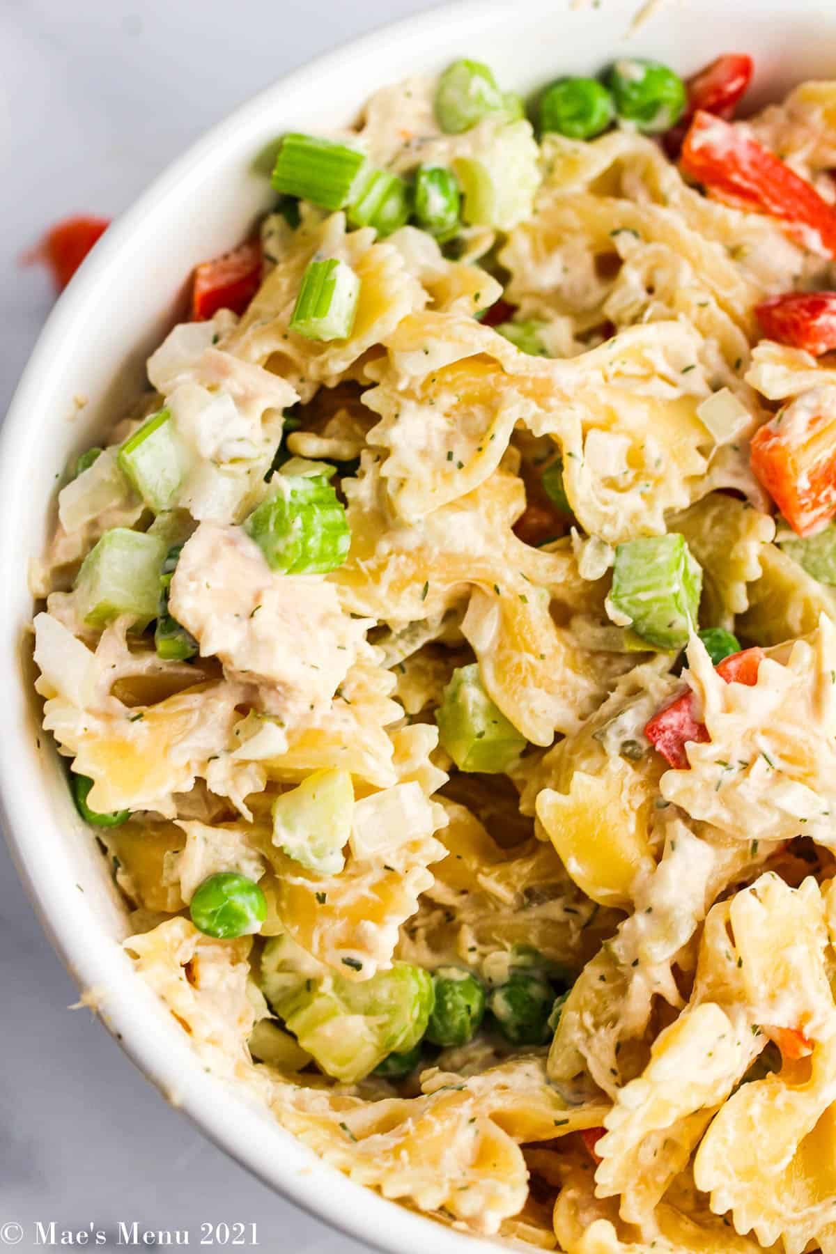 An up-close overhead shot of tuna macaroni salad