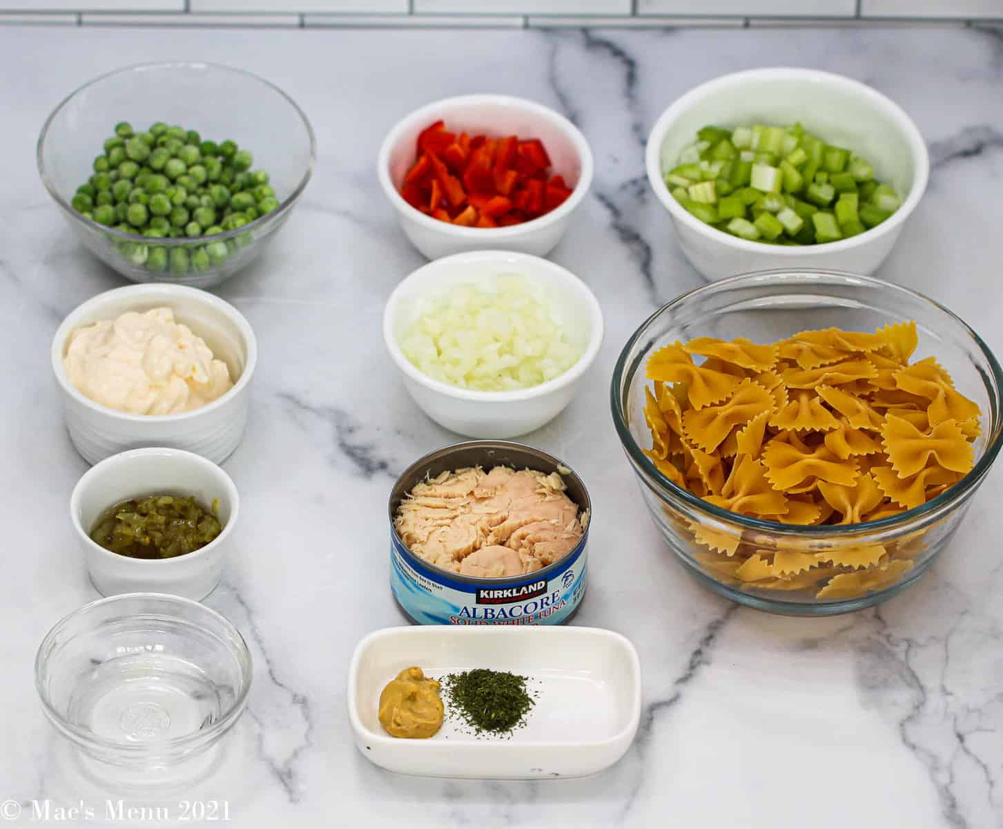 All the ingredients for this tuna macaroni salad