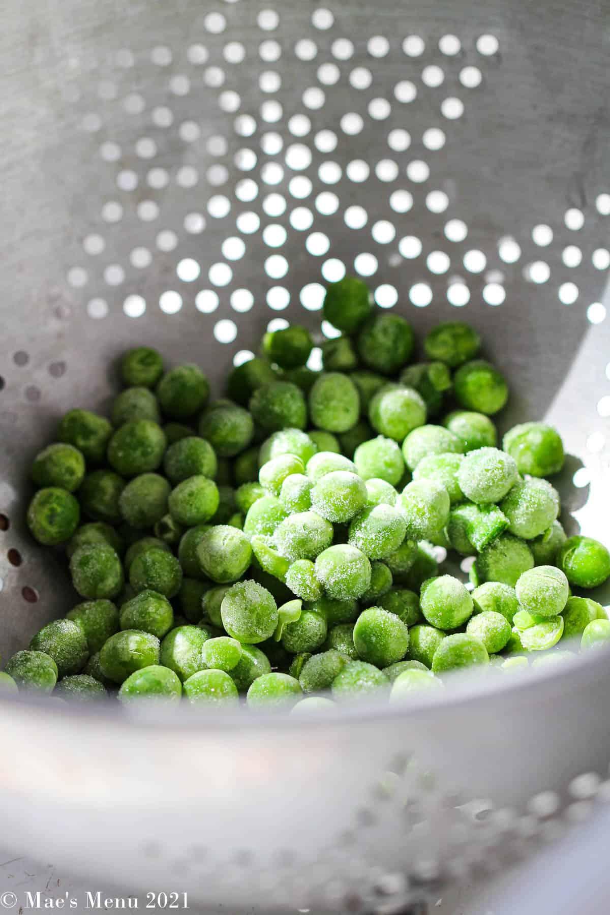 a colander of peas