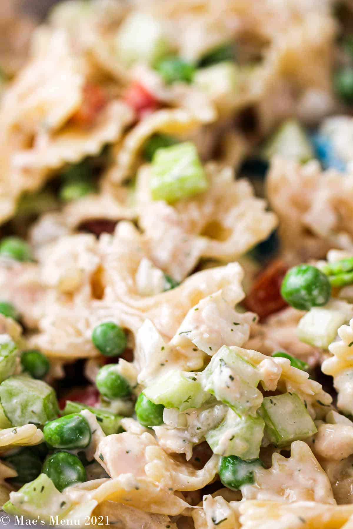 an up-close shot of tuna macaroni salad