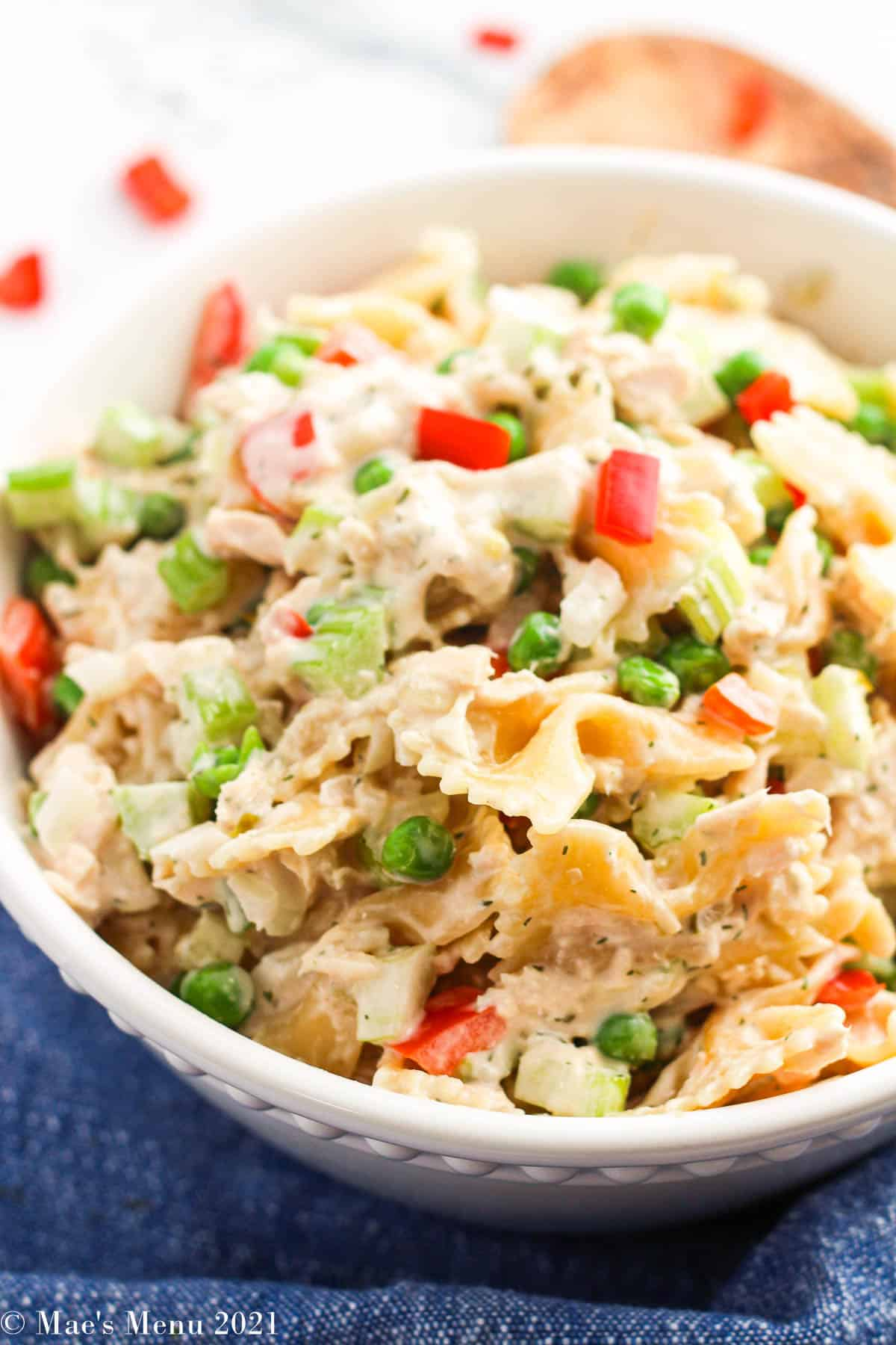 An up-close shot of a bowl of tuna macaroni salad