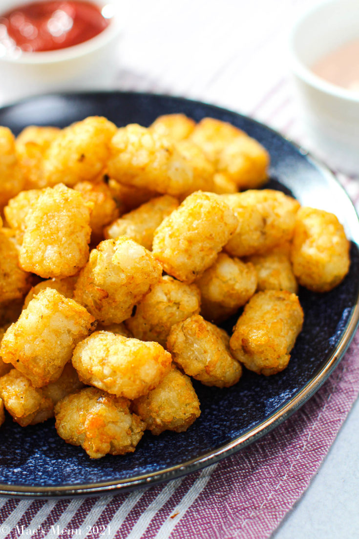 A side angle shot of a plate of air fryer tater tots