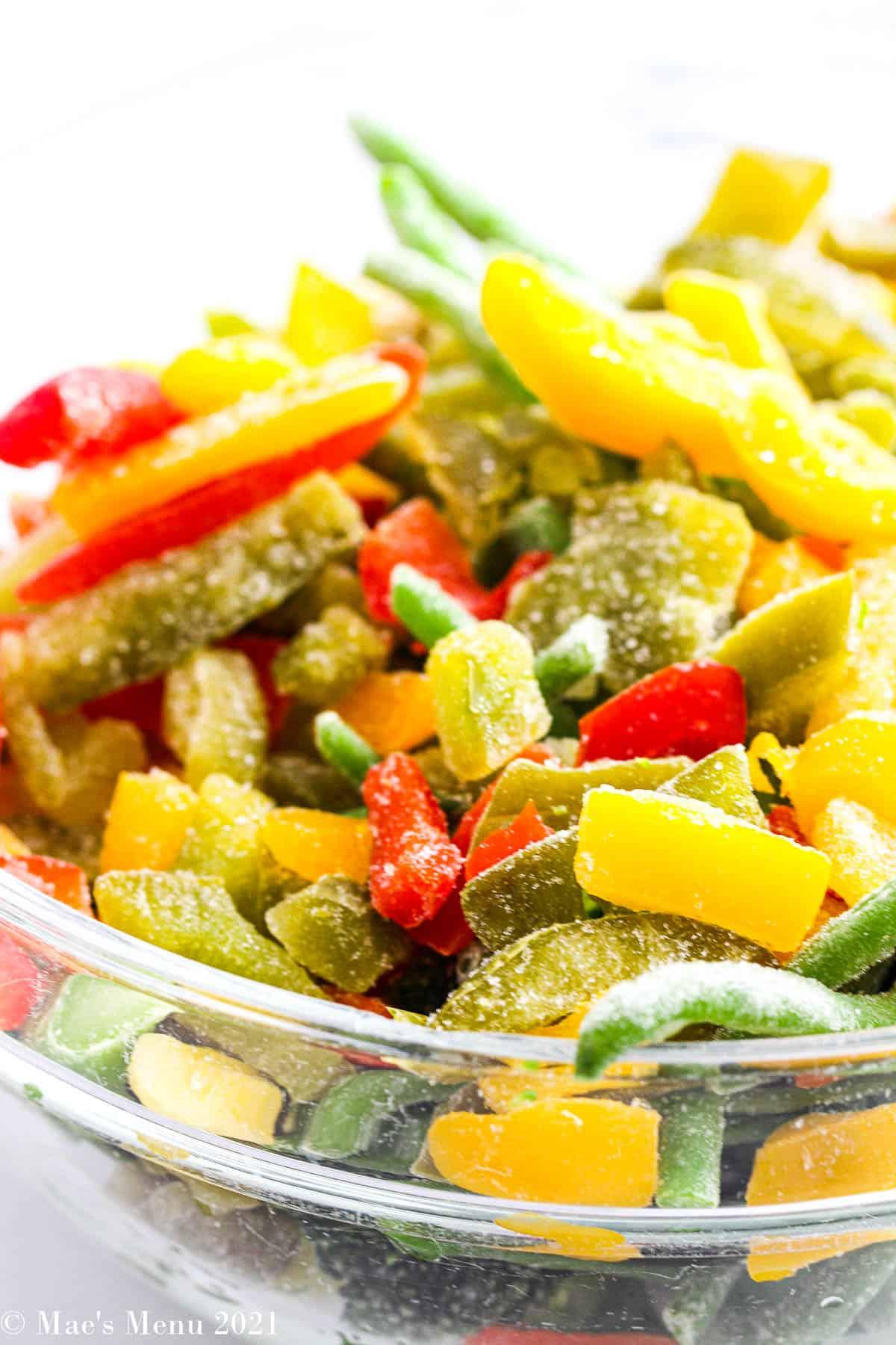 An up-close shot of frozen veggies