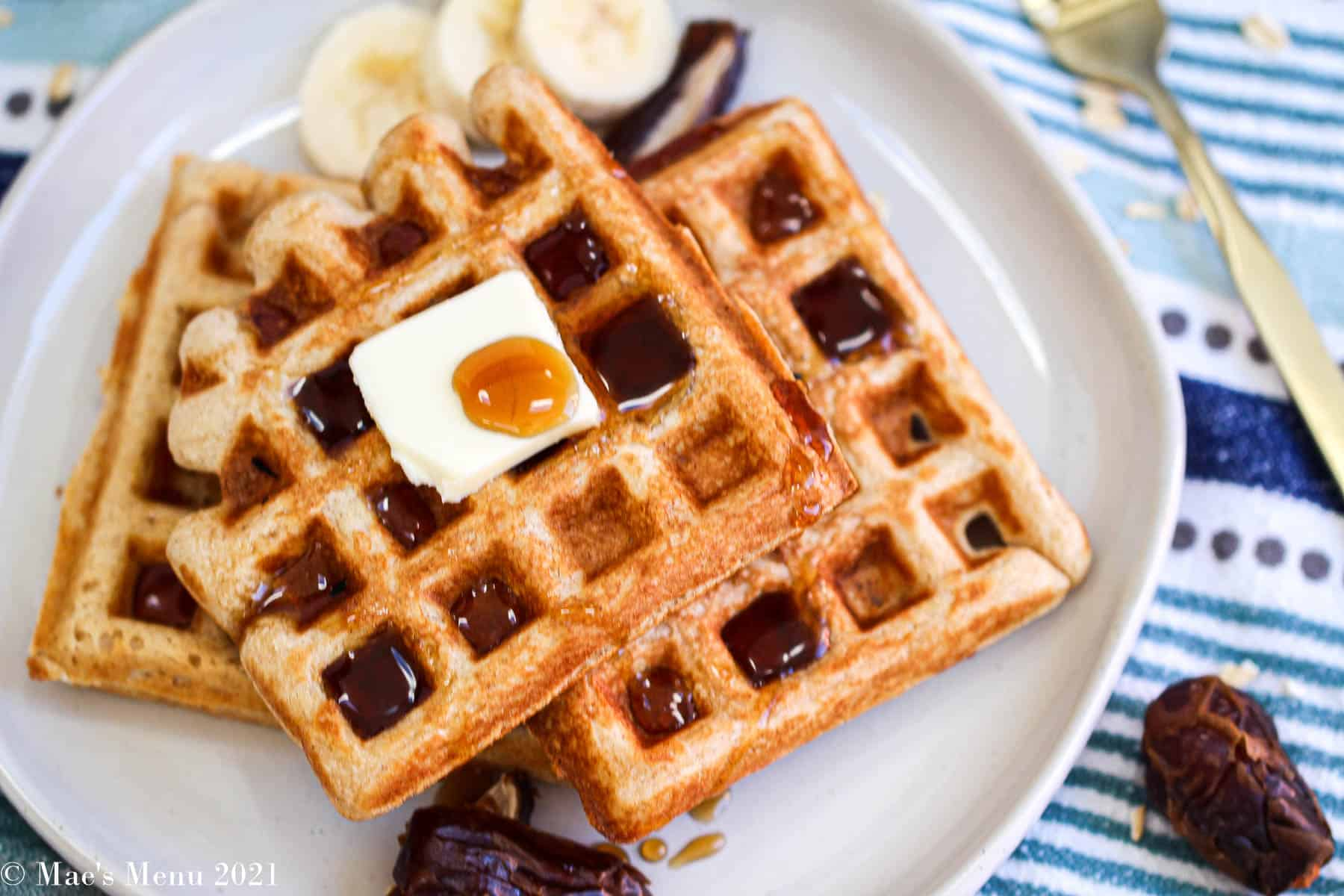 An overhead shot of a plate of whole wheat waffles