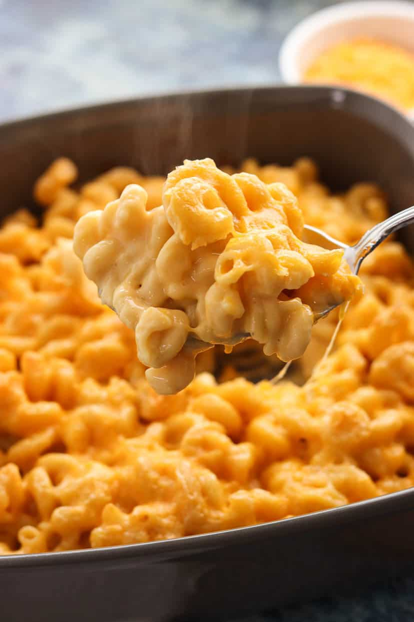 A large spoonful of homemade mac and cheese