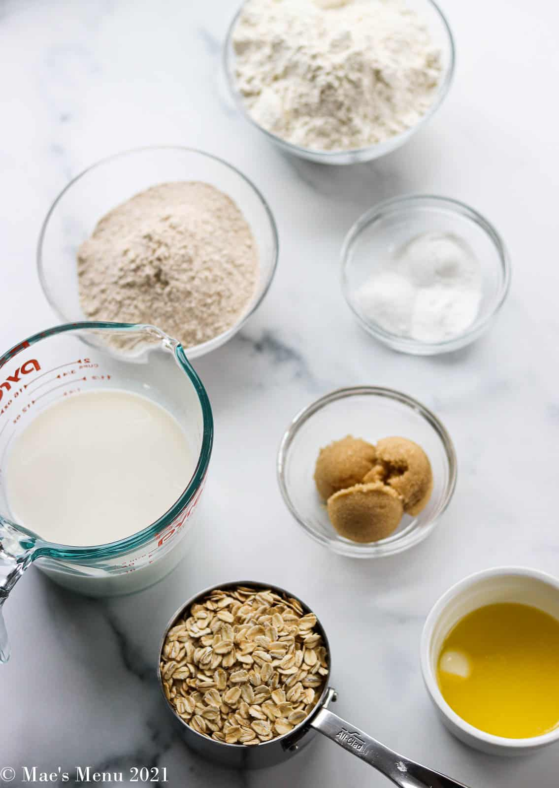 An overhead shot of the ingredients for oatmeal bread