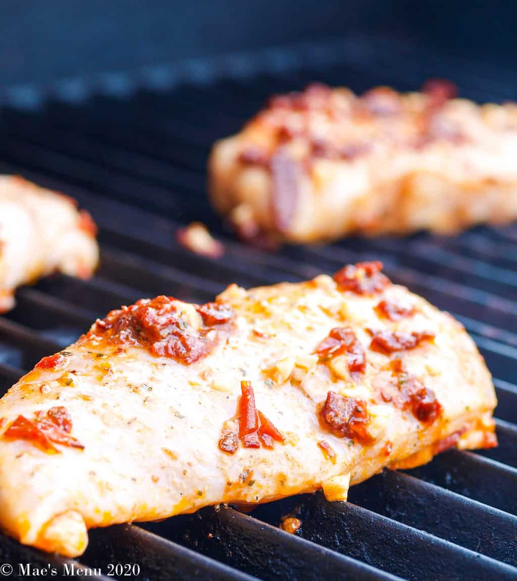 Grilling the chicken breasts