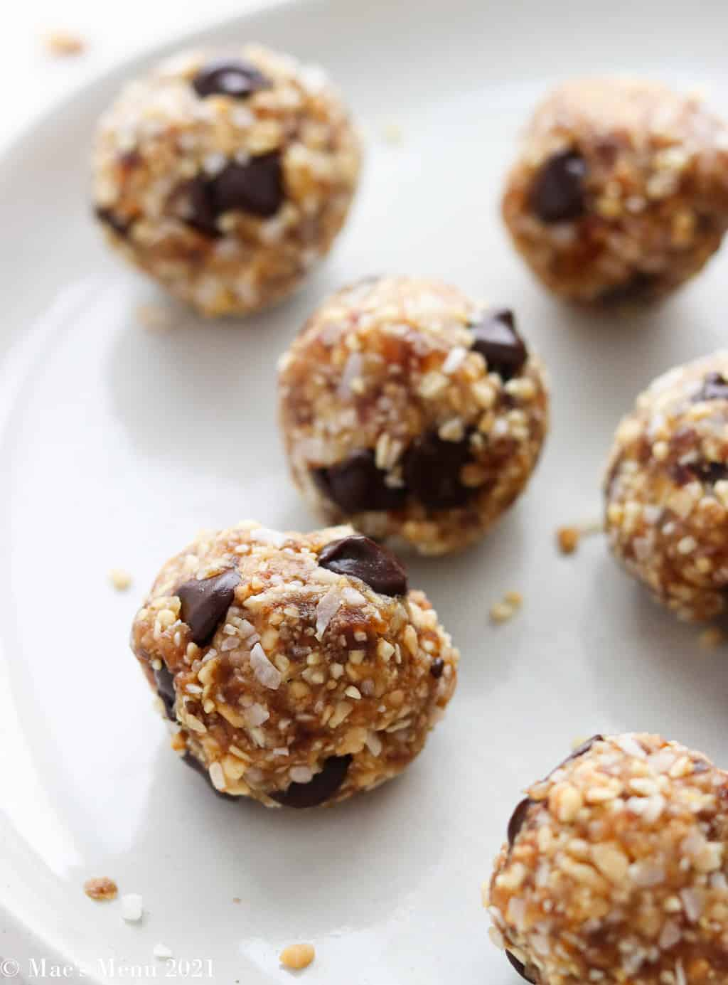 Date balls on a white plate