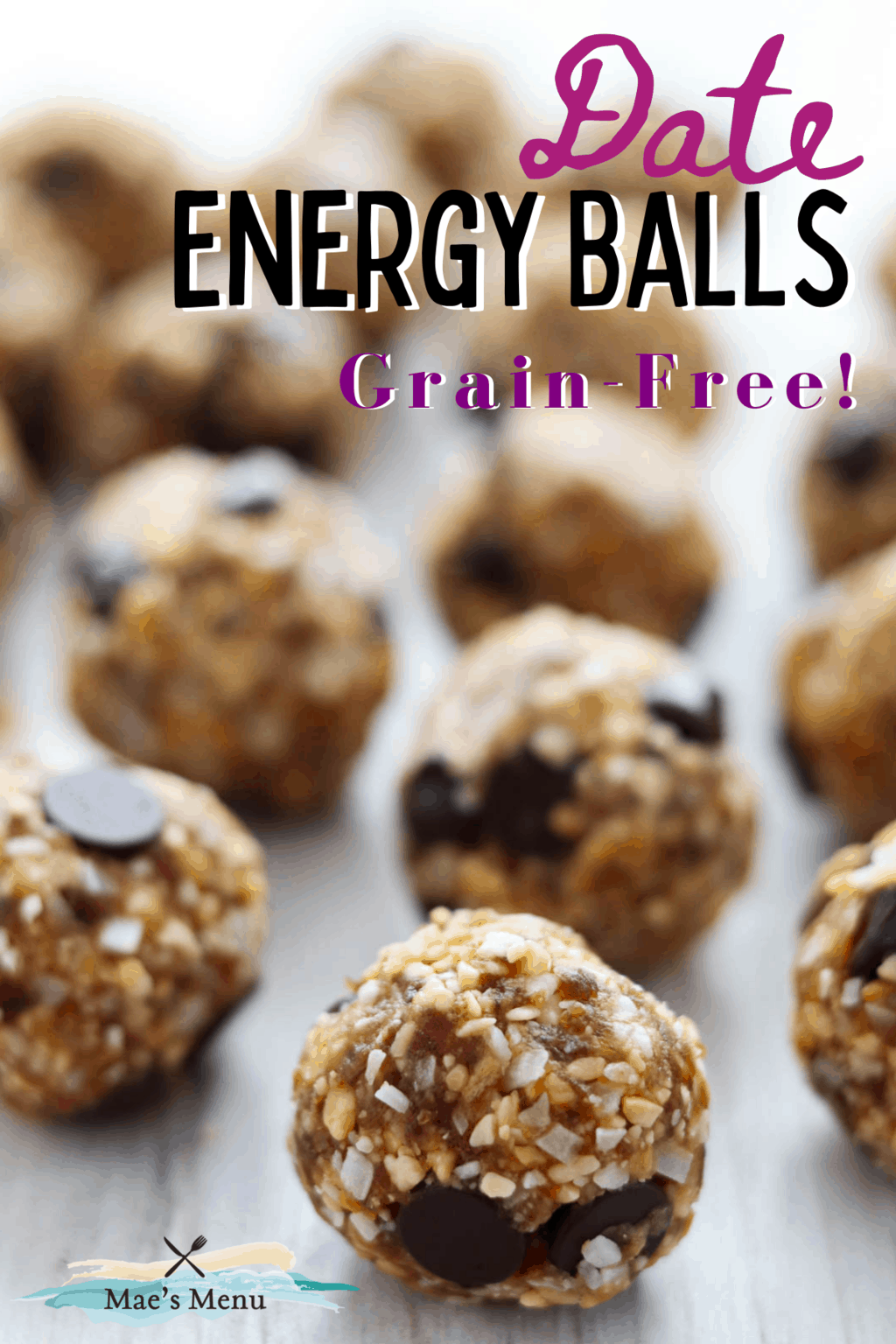 a pinterest pin for date energy balls with an up-close shot of the balls on a counter